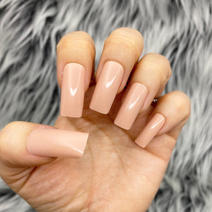 INSTANT GLAM- SOLID LONG SQUARE GLOSSY NUDE PRESS ON NAIL SET
