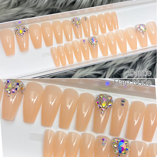 DAZZLE BARE NUDE CRYSTAL ACCENT MEDIUM COFFIN NAIL SET