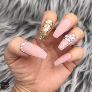 HANDMADE- MATTY PINK NUDE GOLD GLITTER SOPH PINK CRYSTAL BLING OMBRÉ