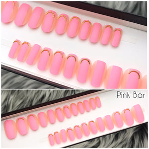 INSTANT GLAM- PINK BAR- PINK W GOLD CHARM PRESS ON SET