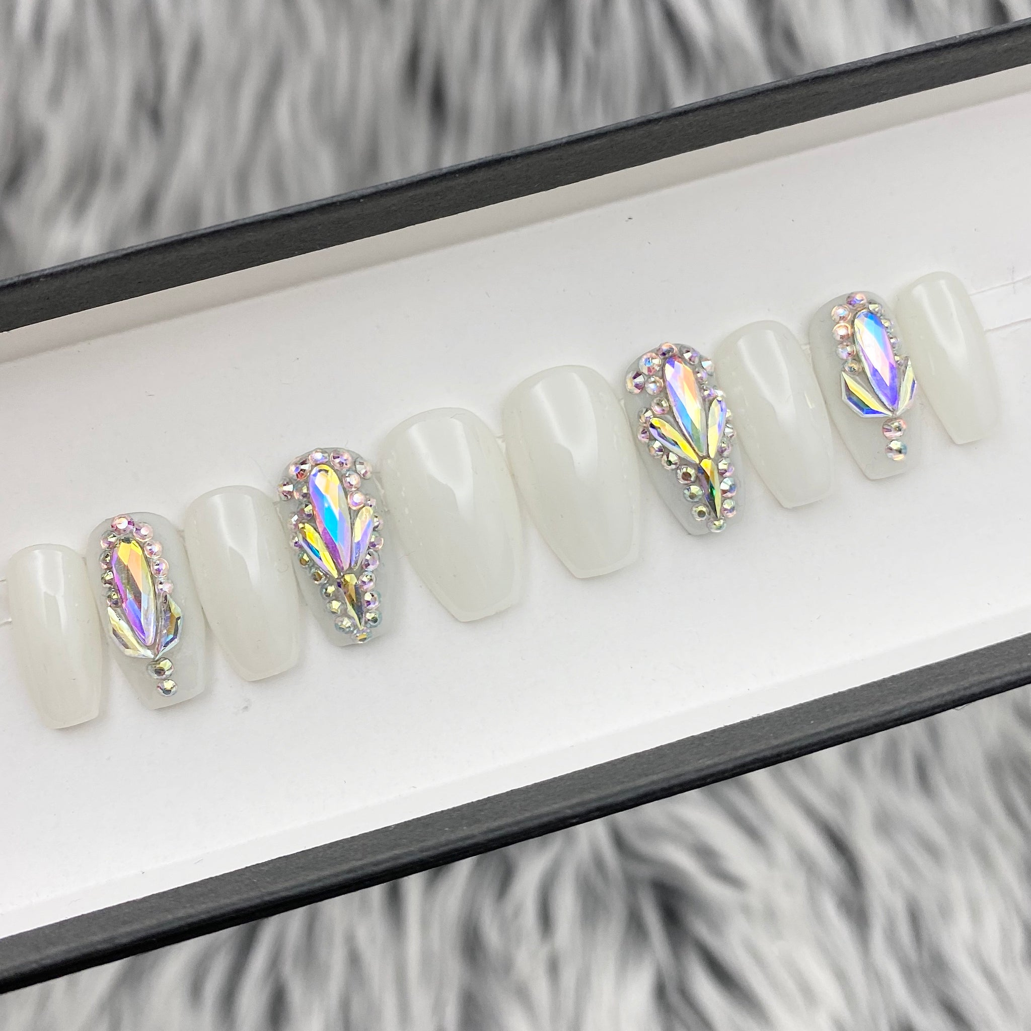 READY TO SHIP SET NOW- WHITE OPAL, COFFIN, SIZE 3,6,7,7,9