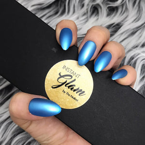 INSTANT GLAM- SATINY BLUE CHROME FULL SET