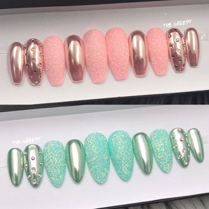 HANDMADE- ROSE GOLD OR AQUA CHROME SUGAR GLITTER W/BLING CRYSTAL ACCENT