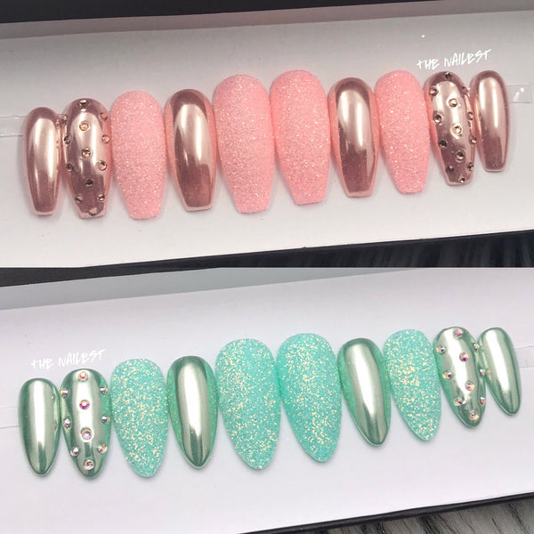 ROSE GOLD OR AQUA CHROME SUGAR GLITTER