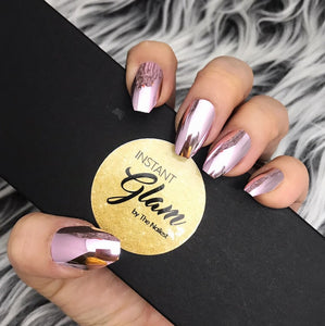 INSTANT GLAM- SHINY PINK CHROME FULL SET