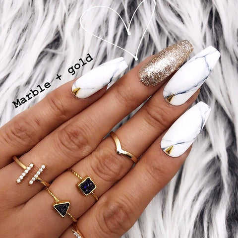 HANDMADE- GOLD MARBLE PRESS ON NAILS SET