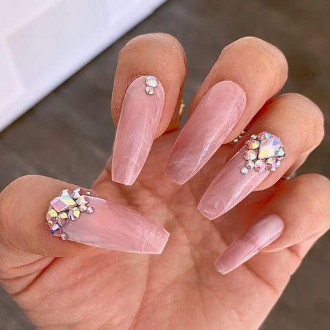 DAZZLE SMOKY PINK MARBLE CRYSTAL ACCENT LONG COFFIN NAIL SET