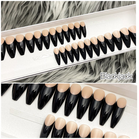 INSTANT GLAM- BLACKJACK FRENCH TAPERED LONG COFFIN PRESS ON NAIL SET