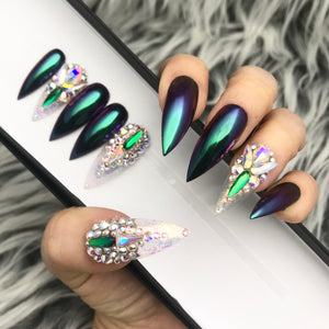 TIA! PEACOCK GREEN CHROME PRESS ON NAILS SET