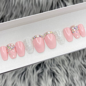 READY TO SHIP SET- GLOSSY PINKLADY PEARL- COFFIN, SIZE L