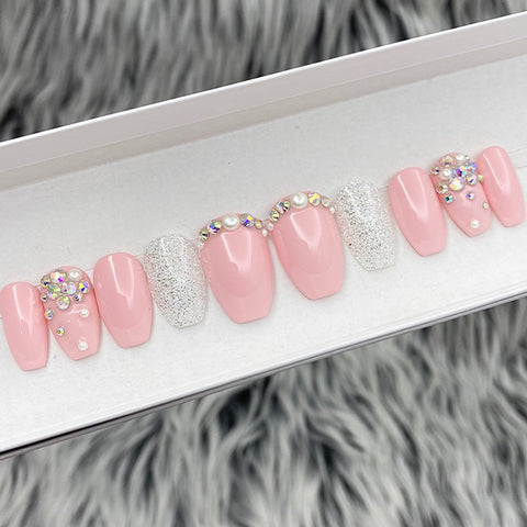 SAMPLE SET- GLOSSY PINKLADY PEARL- COFFIN, SIZE L