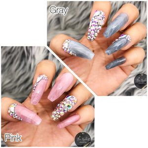 DAZZLE SMOKEY PINK OR GRAY MARBLE W/ CRYSTAL ACCENT LONG COFFIN PRESS ON NAIL SET