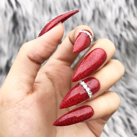 BLAZING RED GLITTER CRYSTAL SET