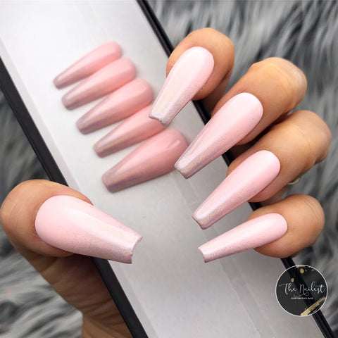 HANDMADE- PINKY NUDY OMBRE PRESSON NAIL SET