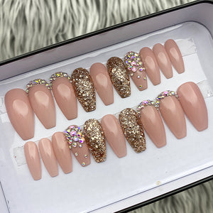 SAMPLE SET NOW- GLOSSY NUDE - LONG COFFIN, SIZE FULL SET