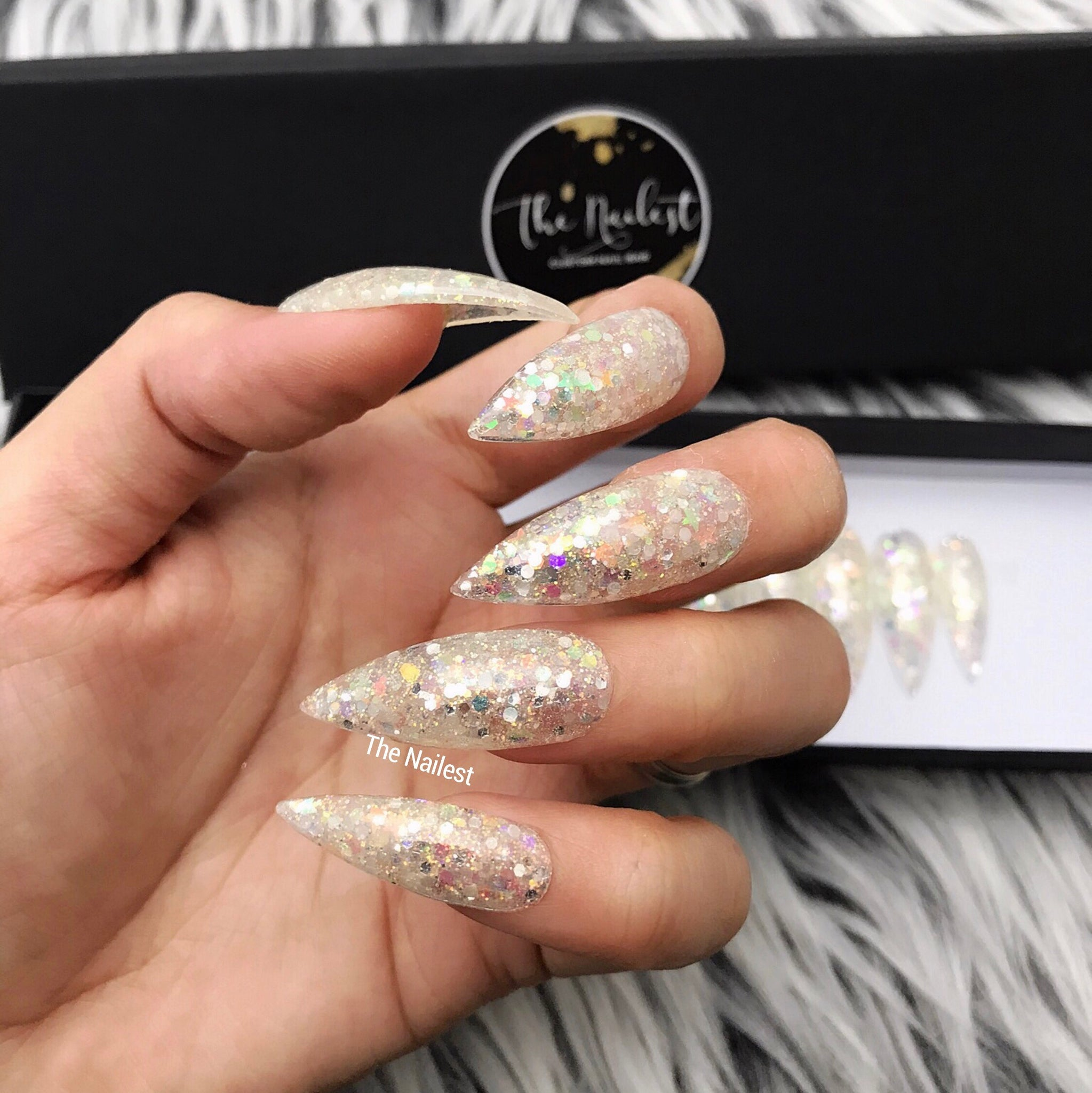 HANDMADE- CLEAR STARBURST GLOSSY CLEAR IRIDESCENT GLITTER MIX