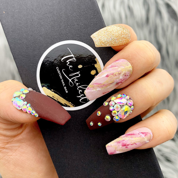 GOLD CABERNET- MARBLE, CRYSTAL DETAILED PRESS ON NAILS SET