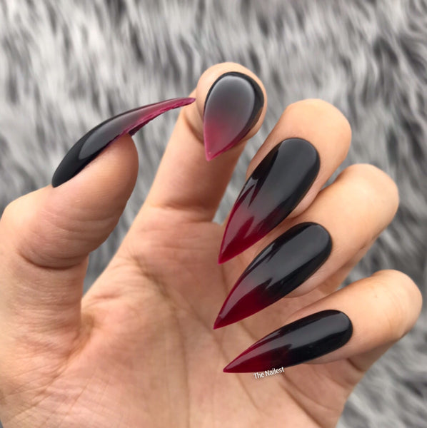 VAMP BLACK RED OMBRE PRESS ON NAILS SET