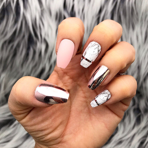 INSTANT GLAM- ROSE ALL DAY- ROSE GOLD CHROME AND MARBLE DESIGN PRESS ON NAIL SET