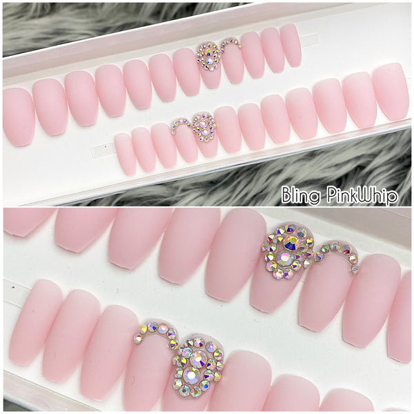 INSTANT GLAM- BLING PINKWHIP PRESS ON NAIL SET