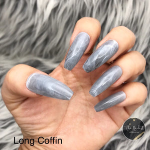 INSTANT GLAM- GRAY SMOKY MARBLE, LONG COFFIN OR LONG STILETTO