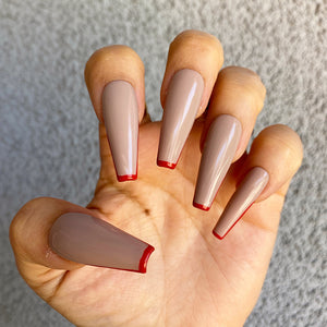 HANDMADE- RED LIPSTICK- NUDE BASED W RED TIP TIPPED PRESS ON NAILS SET