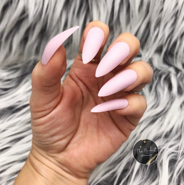 INSTANT GLAM- MATTE LIGHT PINK LONG STILETTO
