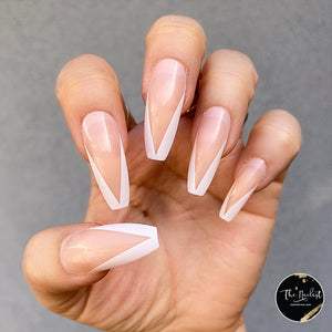 INSTANT GLAM- V SHAPE WHITE FRENCH LONG COFFIN PRESS ON NAIL SET