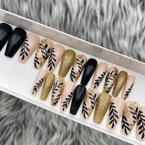 INSTANT GLAM- GOLDEN VINE MEDIUM COFFIN PRESS ON NAIL SET