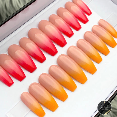 NUDE BEIGE BASED NEON TANGERINE OR ULTRA PINK OMBRE SET