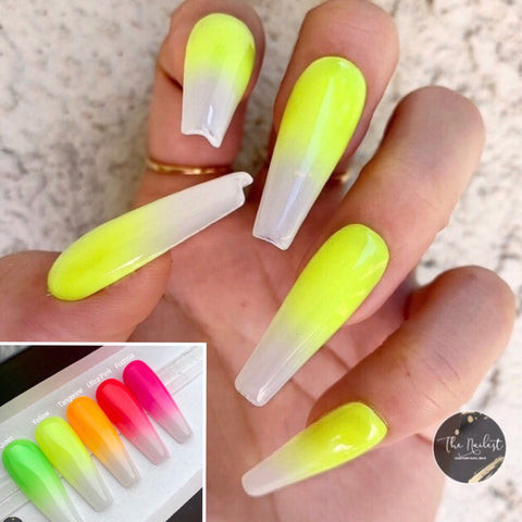 WHITE OPAL NEON OMBRE PRESS ON NAILS SET- 5 COLORS