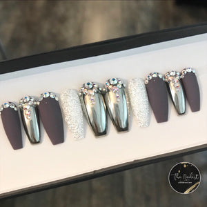 14K SILVER ALLOYS PRESS ON NAILS SET