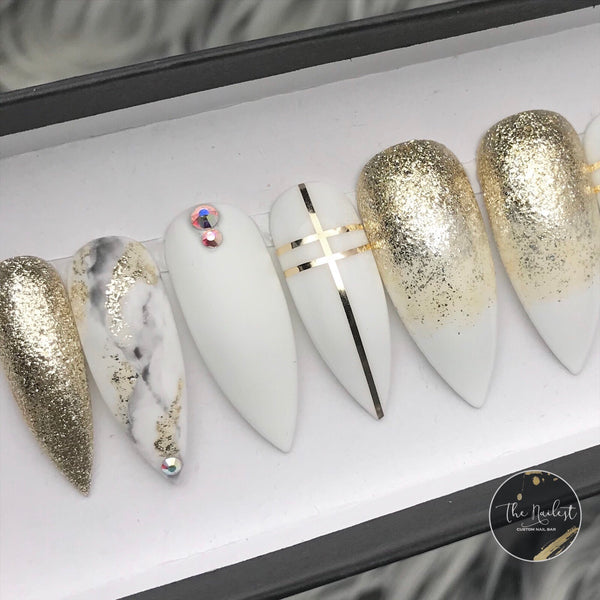 HANDMADE- WHITE LOVE AFFAIR GOLD FOIL OMBRE MATTE MARBLE W/BLING ACCENT