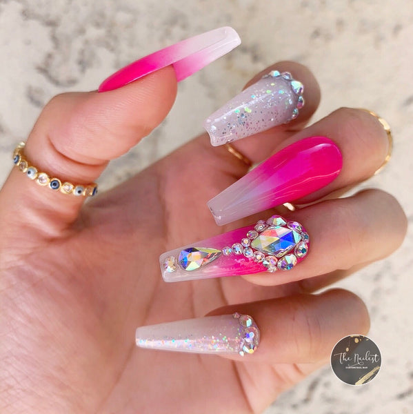 WHITE OPAL NEON OMBRE BLING GLITTER PRESS ON NAILS SET- 5 COLORS