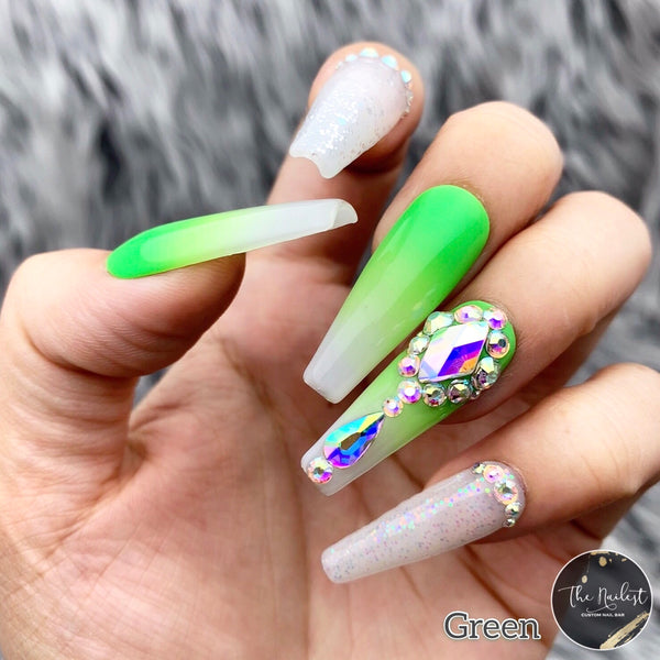 HANDMADE- WHITE OPAL NEON OMBRE W/BLING GLOSSY NEON OMBRE IRIDESCENT GLITTER W/BLING ACCENT CHOOSE FROM 5 COLORS