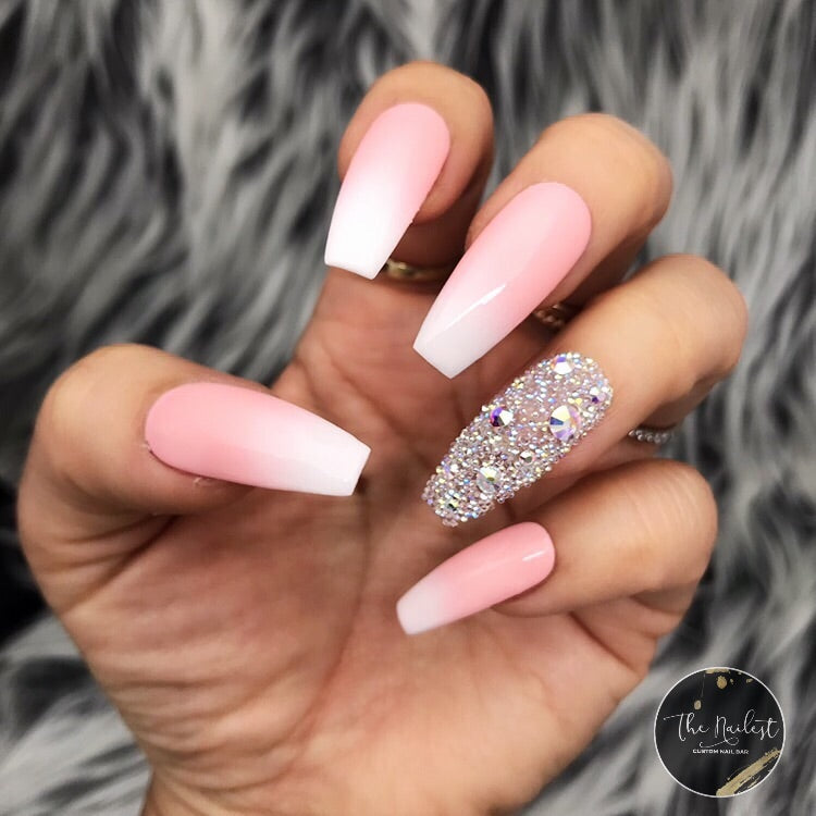 HANDMADE- PINK OMBRE WITH PIXIE GLOSSY PINK WHITE BABY BOOMER W/PIXIE ACCENT