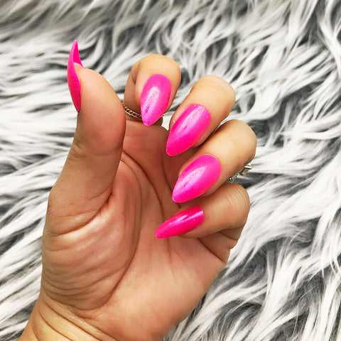 INSTANT GLAM- BUBBLE GUM HOT PINK SHIMMERY FULL SET