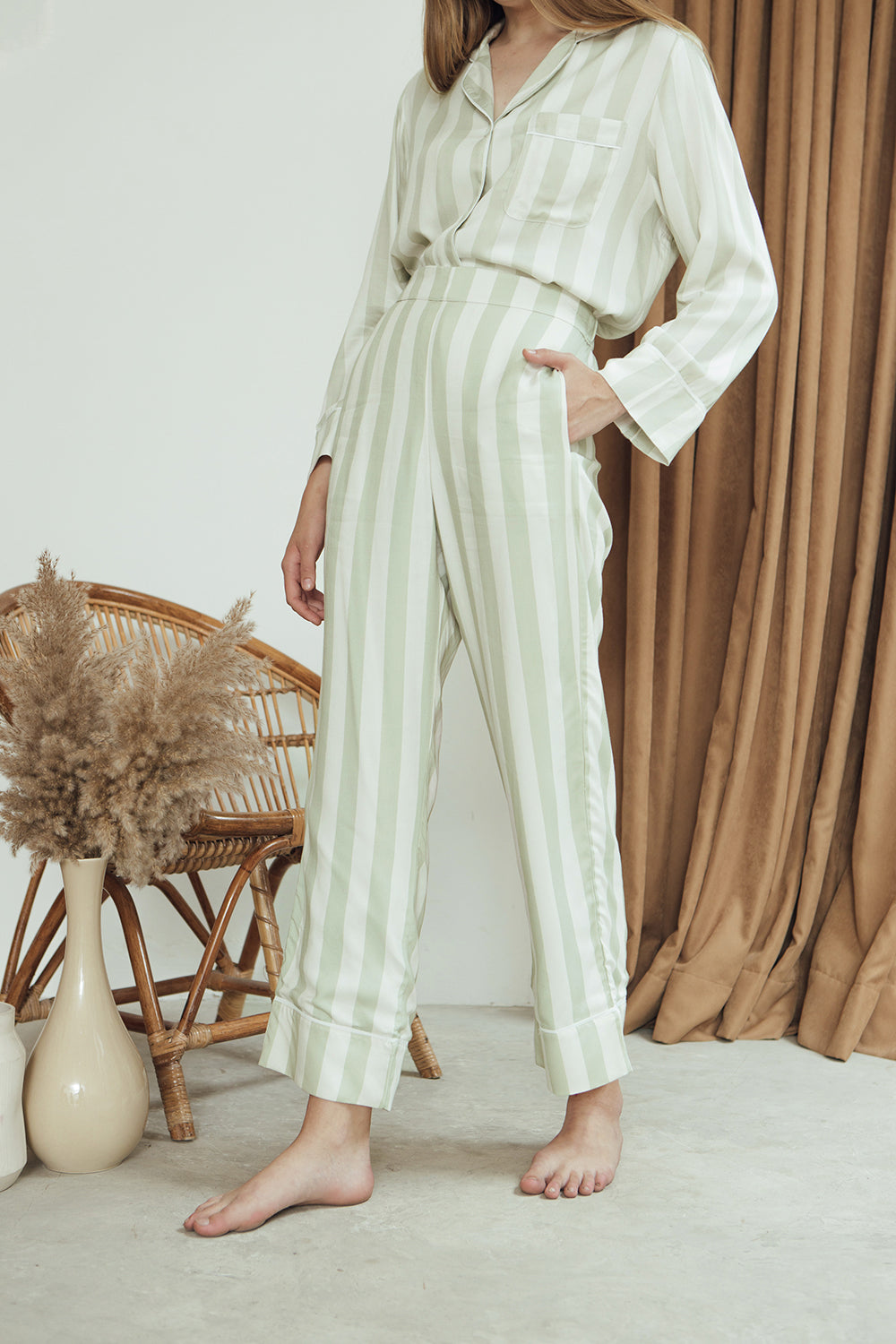 Ella Trousers/ Sage Stripes