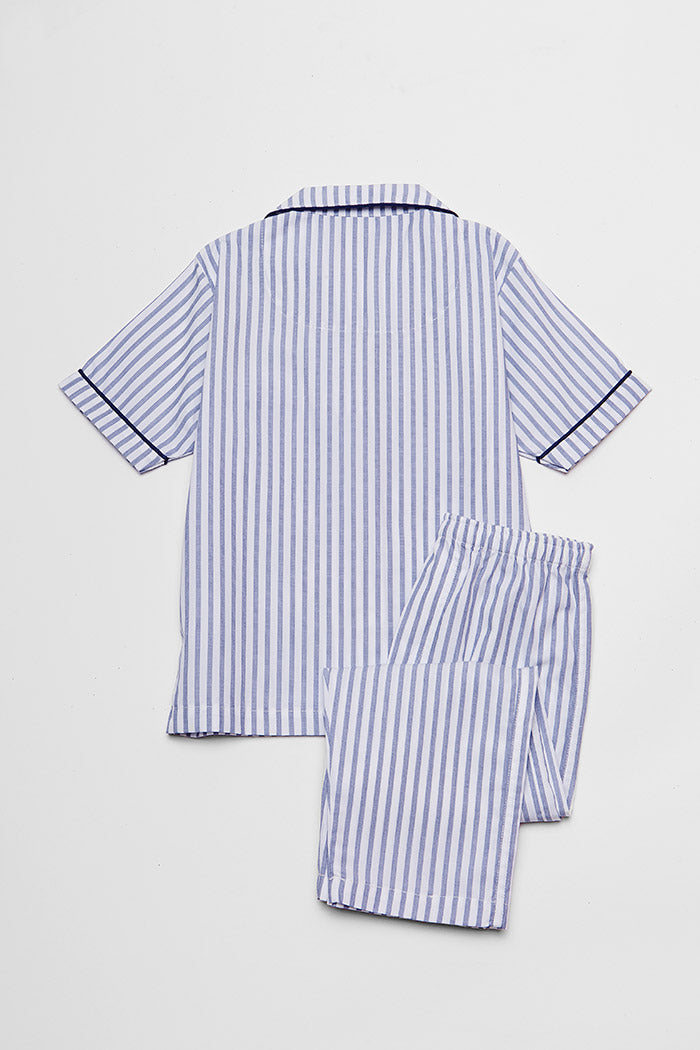 Mitchell Kid's PJ Set/ Stripe Blue and White