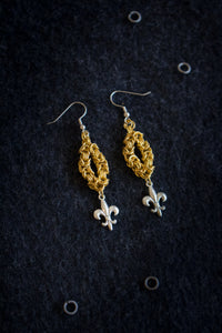 "Apo A Nani - Handmade Fashion Earrings #11 - ""Fleur De Lis"" - Gold Plated"