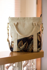 "The ""Old Maui"" Handmade Canvas Bag - Made in Maui, Hawaii - West Maui Design Co. - Floral Blue and Duck Canvas"