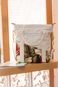 "The ""Old Maui"" Handmade Canvas Bag - Made in Maui, Hawaii - West Maui Design Co. - Floral Red and Duck Canvas"