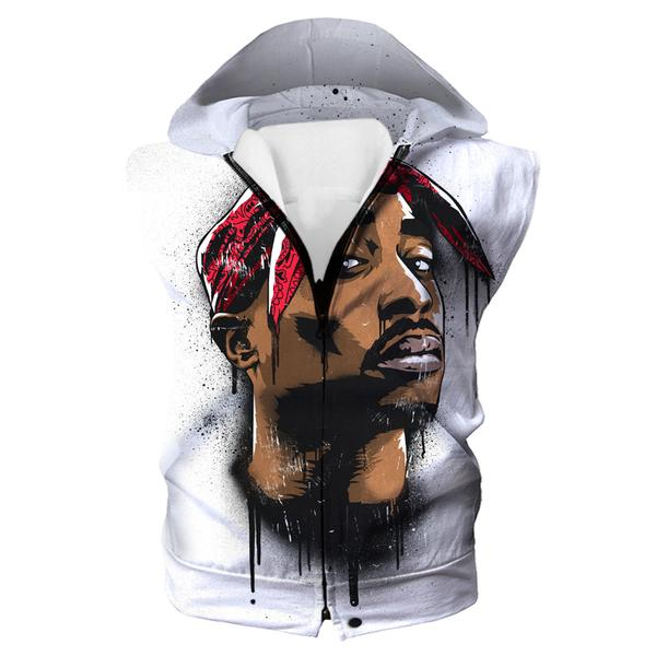 2Pac Face Hooded Tank - Tupac Clothes and Hoodies - Hoodie Now