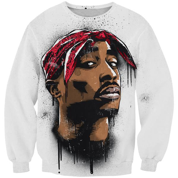 2Pac Face Sweatshirt - Tupac Clothes and Sweaters