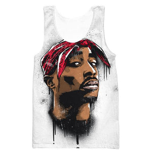 2Pac Face Tank Top - Tupac Clothes and Gym Shirts