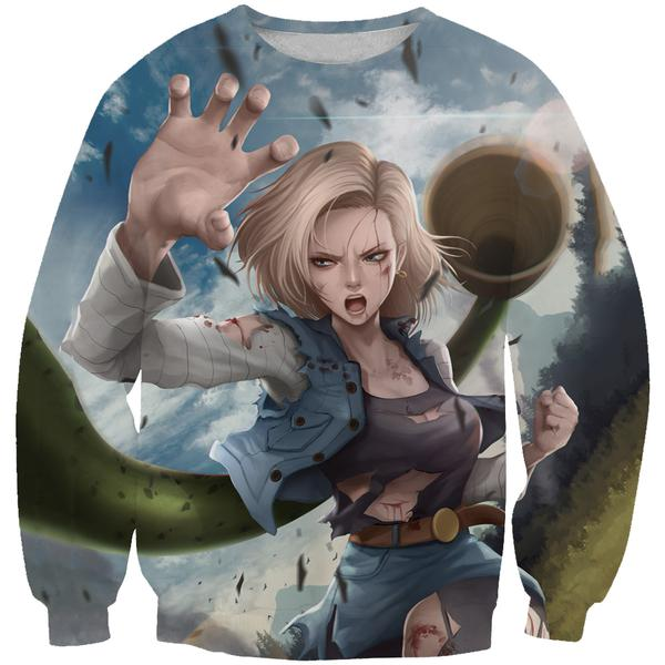 Android 18 Sweatshirt -  Android 18 Dragon Ball Z Clothing