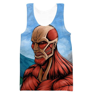 Attack on Titan Tank Top - Titan Face Gym Shirt - Anime Clothes