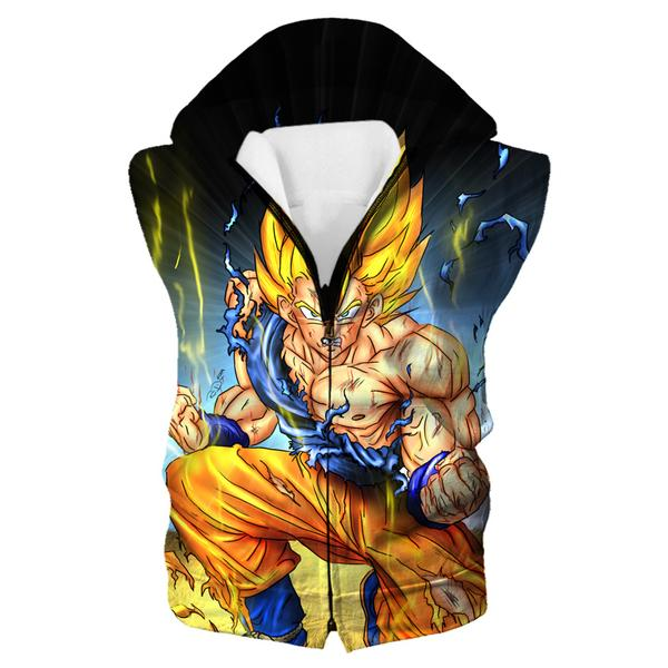 Battle Damaged SSJ Goku Hooded Tank - Dragon Ball Z Goku Clothes - Hoodie Now