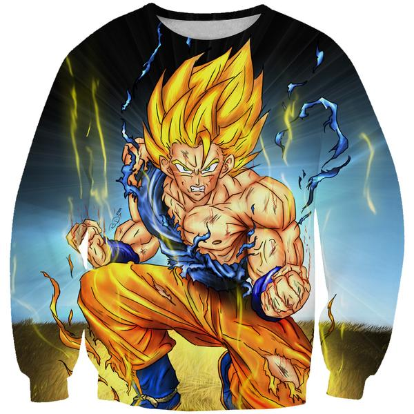 Battle Damaged SSJ Goku Sweatshirt - Dragon Ball Z Goku Clothes