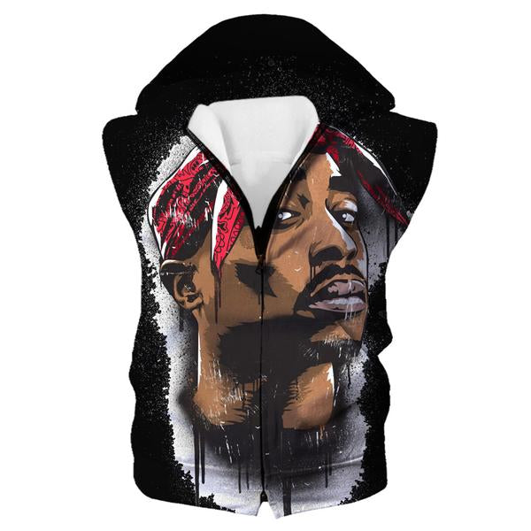 Black Tupac Hooded Tank - 2Pac Face Clothing and hoodies